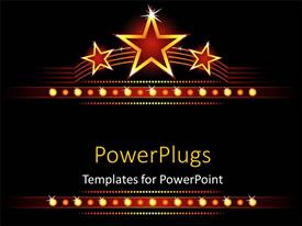 PowerPoint template displaying big stars background with stars and lights glowing