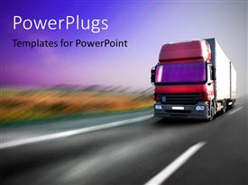 PowerPoint template displaying a big truck moving fast on a tarred roading