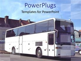 PowerPlugs: PowerPoint template with big white tourist bus in bus parking in front of buildings