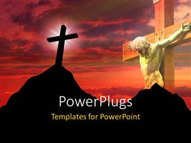 PowerPoint template displaying a big wooden cross of Jesus Christ and another on a mountain