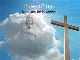 PowerPlugs: PowerPoint template with big wooden cross with a Jesus image in the clouds