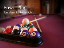 PowerPlugs: PowerPoint template with billiard balls in rack with cue ball, billiard sticks, purple felt pool table