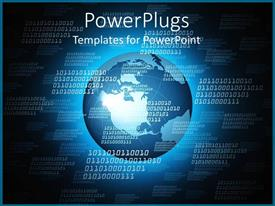 PowerPlugs: PowerPoint template with binary code over Earth globe world, IT, networking, global communications, programming