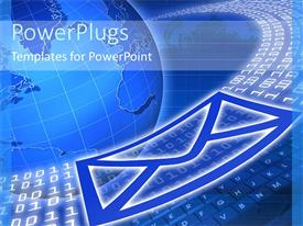 PowerPlugs: PowerPoint template with binary codes around globe with envelope symbol on keyboard