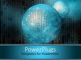 PowerPlugs: PowerPoint template with binary codes on a blue earth globe on a dark background