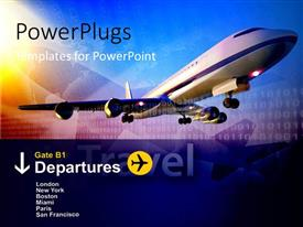 PowerPlugs: PowerPoint template with binary digit in background with airplane taking off with departure information