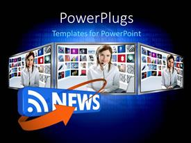 PowerPlugs: PowerPoint template with binary digits in background with journalist casting news on TV screens
