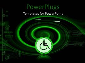 PowerPlugs: PowerPoint template with binary digits in black background with round medical impairment symbol