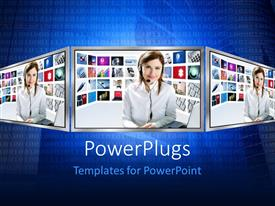 PowerPlugs: PowerPoint template with binary digits on blue background with lady newscaster onthree LCD monitors