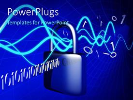 PowerPlugs: PowerPoint template with binary digits with blue waves lines passing through padlock