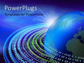 PowerPlugs: PowerPoint template with binary digits forming concentric circles round blue earth globe