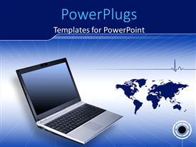 PowerPlugs: PowerPoint template with binary digits with laptop over blue world map