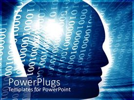 PowerPoint template displaying binary digits over human head with light glow in blue background