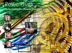 PowerPlugs: PowerPoint template with binary digits, paper clips and happy business men connected with circuit lines