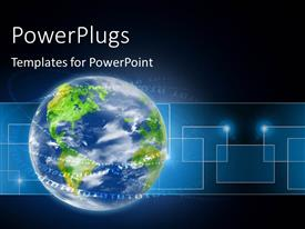 PowerPlugs: PowerPoint template with binary digits swirling round blue earth globe over blue background