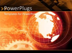 PowerPlugs: PowerPoint template with binary numbers with cogwheel in background with earth globe