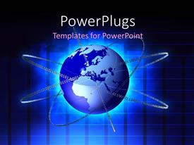PowerPlugs: PowerPoint template with binary numbers form circles around glowing earth globe