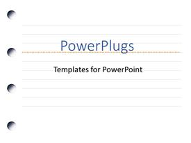 PowerPoint template displaying binder paper graphics notebook for writing notes on white background