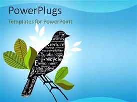 PowerPoint template displaying a bird on a branch with bluish background