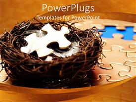 PowerPoint template displaying bird nest with white feathers and jigsaw puzzle piece on jigsaw puzzle
