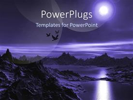 PowerPlugs: PowerPoint template with birds flying in night over mountains dark sky moonlight success dream
