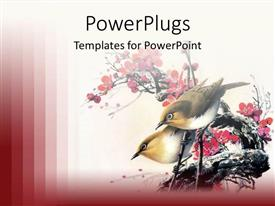 PowerPoint template displaying birds sitting on the branches of red flowers with red background