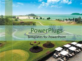 PowerPoint template displaying birdseye vision od golf ground, golf playground, golf terrain, golf carts, ocean water, trees, blue sky