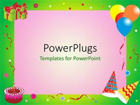 PowerPoint template displaying a birthday celebration with pinkish background
