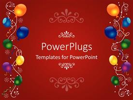 PowerPlugs: PowerPoint template with a birthday celebration with reddish background