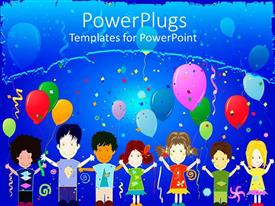 PowerPlugs: PowerPoint template with birthday celebrations among kids without discrimination