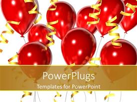 PowerPlugs: PowerPoint template with birthday party celebrations graduation red balloons and gold ribbons