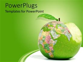 PowerPlugs: PowerPoint template with bitten big green apple with a world map design