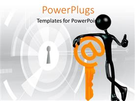 PowerPoint template displaying black 3D man leaning on yellow internet key with keyhole in background
