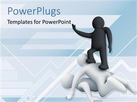 PowerPlugs: PowerPoint template with black 3D man oppressing two men over abstract background