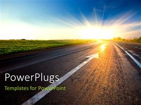 PowerPlugs: PowerPoint template with black asphalt road with arrow to sunset depicting future