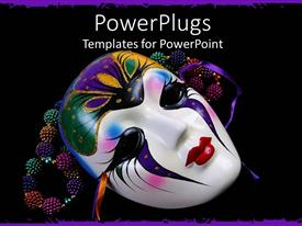 PowerPlugs: PowerPoint template with black background with colorful beads and Mardi Gras mask