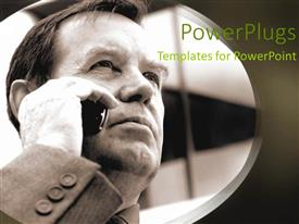 PowerPlugs: PowerPoint template with a black background with a man on the phone in a circle