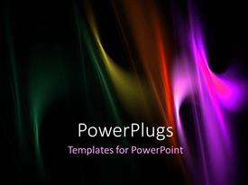 PowerPlugs: PowerPoint template with black background with overlay of multicolored wavy lines