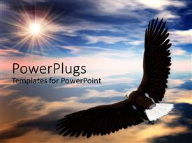 PowerPlugs: PowerPoint template with a black bald eagle soaring high into the sky