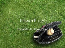 PowerPlugs: PowerPoint template with black baseball glove holding baseball ball on green grass background