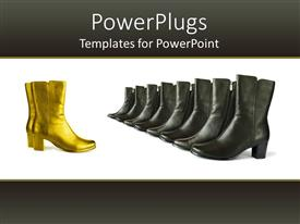 PowerPoint template displaying black boots arranged with golden boot on white and black background