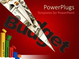 PowerPlugs: PowerPoint template with black budget word cut, with the depiction of money bills and scissors on top of dollar bills, multicolored budget related chart with budget cuts, layoffs and sales words on chart bars, red background