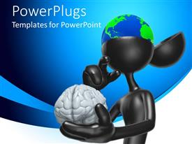 PowerPlugs: PowerPoint template with black colored animated human figure with an earth globe brain