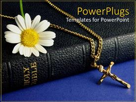 PowerPlugs: PowerPoint template with black colored Bible with a white flower and cross chain