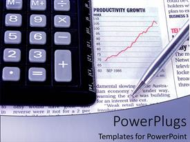 PowerPlugs: PowerPoint template with black colored calculator with a pen on a newspaper