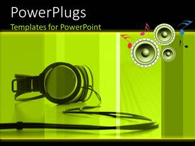 PowerPoint template displaying a black colored headset over a yellow background and some music symbols