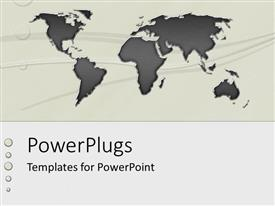PowerPlugs: PowerPoint template with black colored map on a solid ash colored background