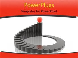 PowerPlugs: PowerPoint template with black colored three dimensional harmony chat with red ball sitting on top