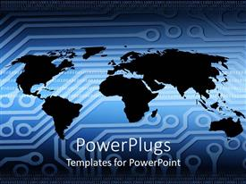 PowerPoint template displaying black colored world map outline on blue printed circuit board pattern