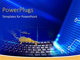PowerPlugs: PowerPoint template with black computer keyboard on a black background with waves